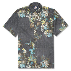 Reyn Spooner Pupus and Mai Tais Weekend Wash Classic Fit Button Front Shirt in BLACK