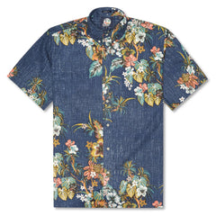 Reyn Spooner Pupus and Mai Tais Weekend Wash Classic Fit Button Front Shirt in INK