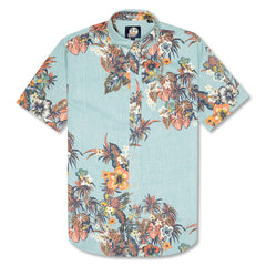 Reyn Spooner Pupus and Mai Tais Weekend Wash Tailored Fit Shirt in AQUA