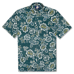 Reyn Spooner Miyazake Gardens Classic Fit Button Front Shirt in DARK TEAL