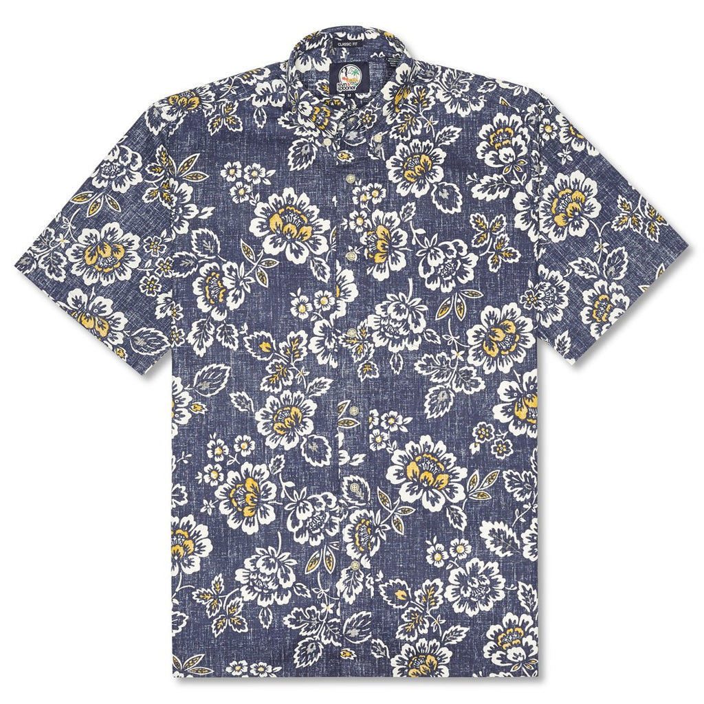 Reyn Spooner Miyazake Gardens Classic Fit Button Front Shirt in INK