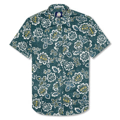 Reyn Spooner Miyazake Gardens Weekend Wash Tailored Button Front Shirt in DARK TEAL