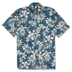 Reyn Spooner Onishi Gardens Classic Fit Button Front Shirt in LAKE