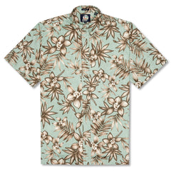 Reyn Spooner Onishi Gardens Classic Fit Button Front Shirt in SEAFOAM