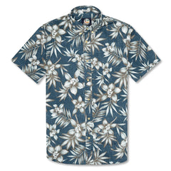 Reyn Spooner Onishi Garden Weekend Wash Tailored Fit Shirt in LAKE