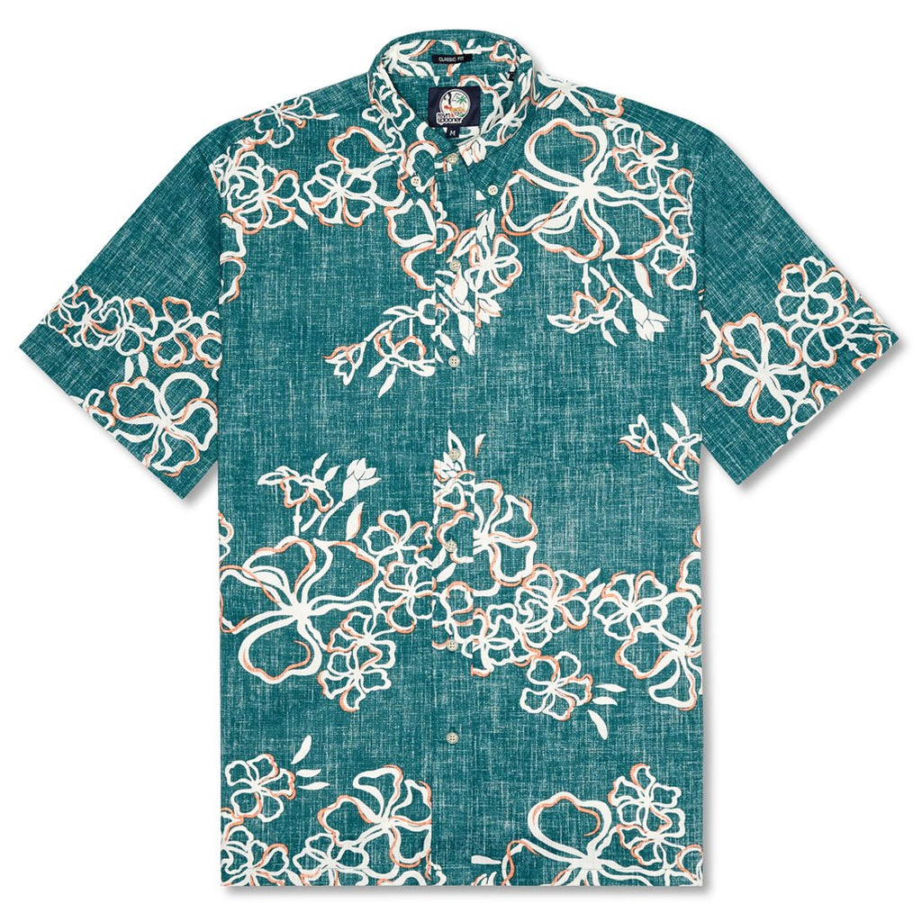 Reyn Spooner Lei Over Classic Fit Button Front Shirt in TEAL