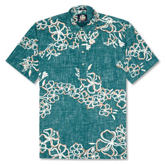 Reyn Spooner Lei Over Classic Fit Pullover Shirt in TEAL