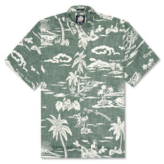 Reyn Spooner My Private Isle Classic Fit Button Front Shirt in DARK FOREST