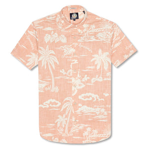 Reyn Spooner My Private Isle Weekend Wash Tailored Shirt in CORAL
