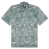 Reyn Spooner Sketch Ketch Classic Fit Button Front Shirt in DARK TEAL