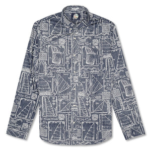 Reyn Spooner Sketch Ketch Tailored Button Front Long Sleeve Shirt in INK