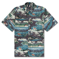 Reyn Spooner Avalon By The Sea Classic Fit Button Front Shirt in BLACKENED PEARL