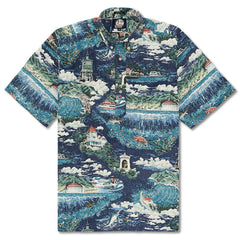 Reyn Spooner Avalon By The Sea Classic Fit Pullover Shirt in NAVY