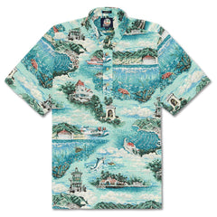 Reyn Spooner Avalon By The Sea Classic Fit Pullover Shirt in OCEAN WAVE