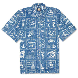 Reyn Spooner Stories from the East Classic Fit Button Front Shirt in MARINE BUTTON FRONT