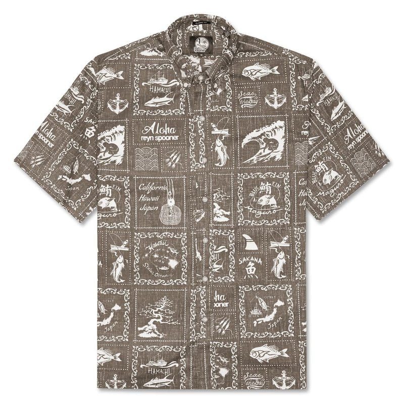 Reyn Spooner Stories from the East Classic Fit Button Front Shirt in MOCHA BUTTON FRONT