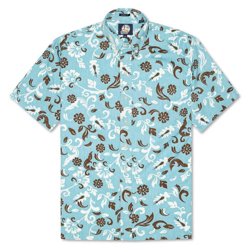 Reyn Spooner Outrigger Pareau Classic Fit Button Front Shirt in AQUA