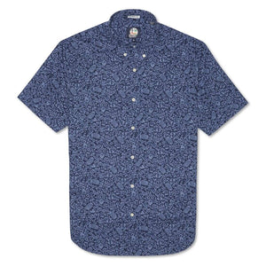 Reyn Spooner North Shore Juice Tailored Fit Button Front Shirt in INDIGO