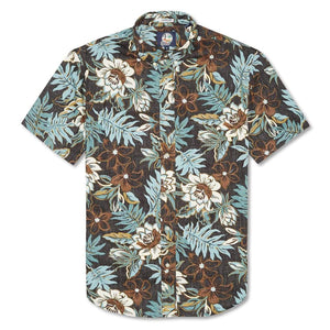 Reyn Spooner Vintage Hawaiian Floral Tailored Fit Button Front Shirt in BLACK