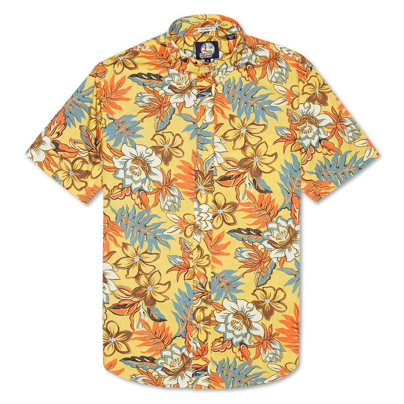 Reyn Spooner Vintage Hawaiian Floral Tailored Fit Button Front Shirt in YELLOW