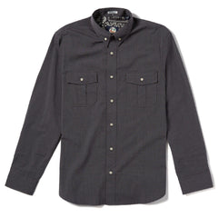 Reyn Spooner End On End Tailored Fit Button Front Long Sleeve in BLACK