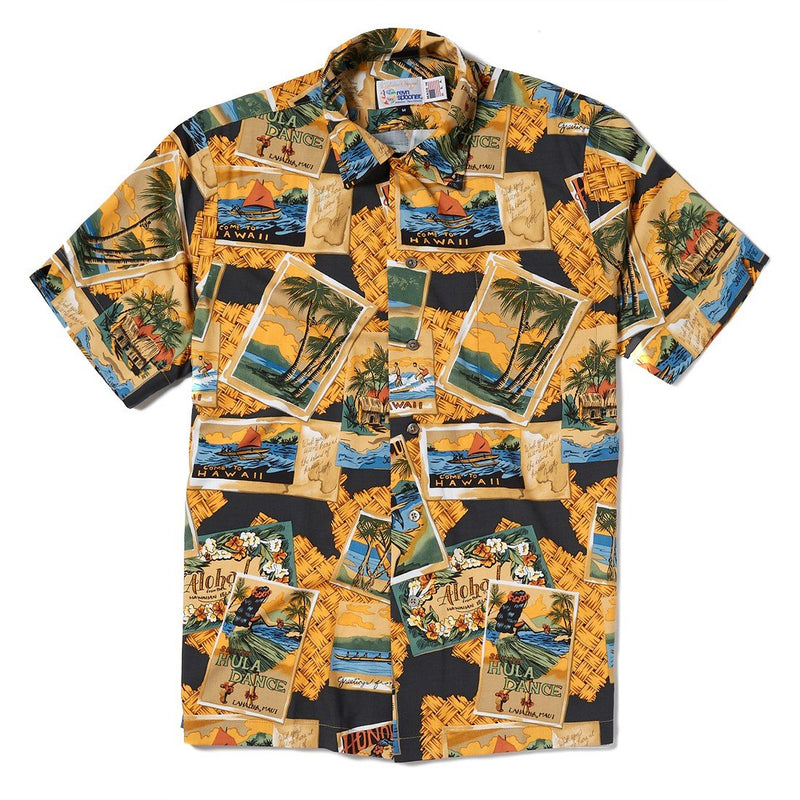 Reyn Spooner Greetings From Hawaii Classic Fit Vintage Rayon in BLACK