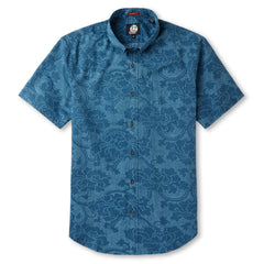 Reyn Spooner Hoku Garden Classic Fit Hawaiian Shirt in DARK TEAL