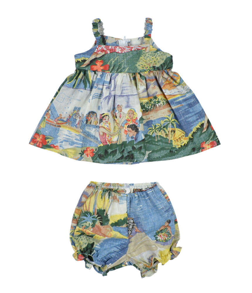 TRANS PACIFIC 40'S / TODDLER DRESS WITH BLOOMERS • 6M TO 18M - Zoomed