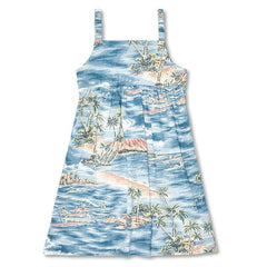 Reyn Spooner Downwind Paddler Girls Dress in DENIM