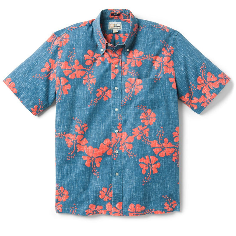 Reyn Spooner 50Th State Floral / Classic Fit Weekend Wash Button Front in DARK BLUE