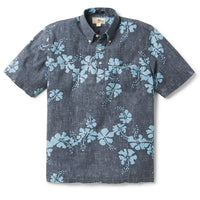 Reyn Spooner 50Th State Floral / Classic Fit Weekend Wash Pullover in DRESS BLUES