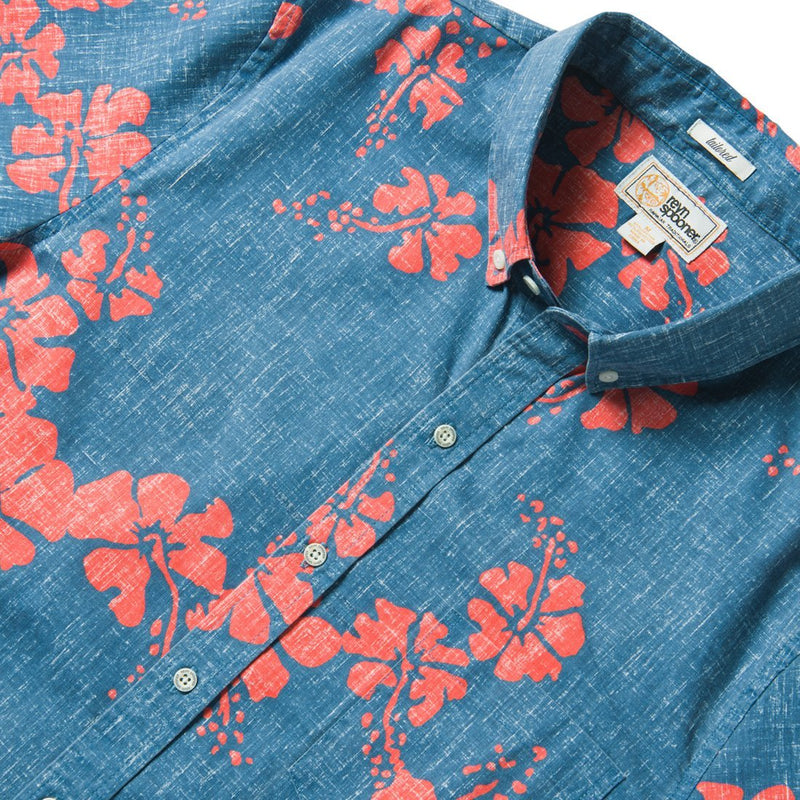 Reyn Spooner 50Th State Floral / Tailored Fit 2.0 Weekend Wash in DARK BLUE