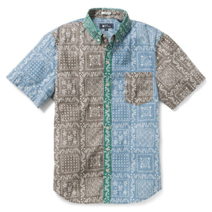 Reyn Spooner Original Lahaina Colorblock Tailored Fit 2.0 Weekend Wash Shirt in BRUSHED NICKEL