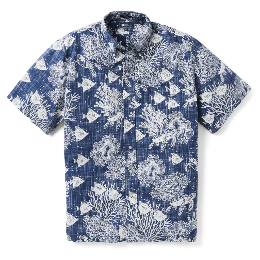 Reyn Spooner Scuba Doo Dive Classic Fit Button Front Shirt in TWILIGHT BLUE