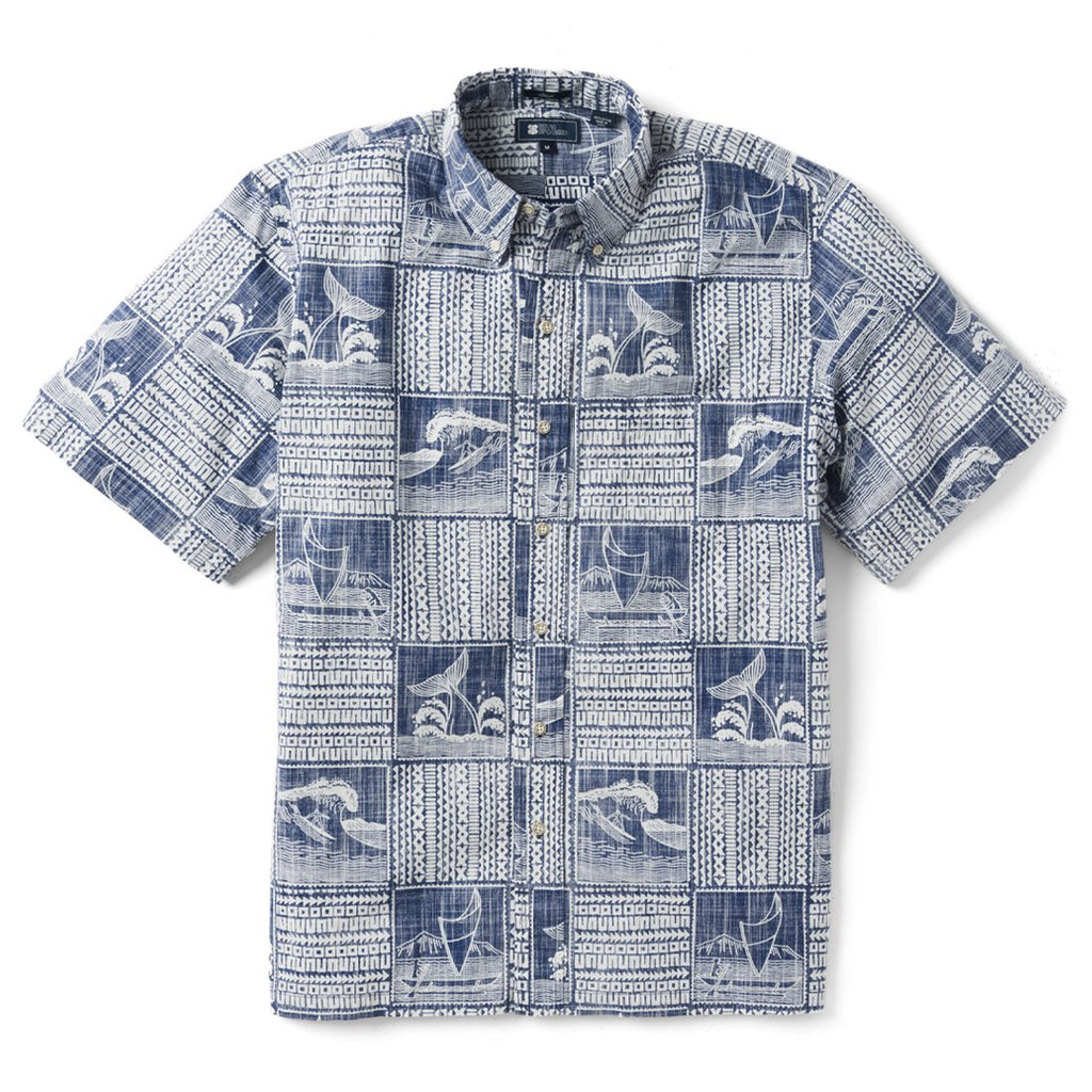 085a3524b Reyn Spooner Oceans Playground Classic Fit Button Front Shirt in TWILIGHT  BLUE