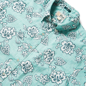 Reyn Spooner Pacific Pareau Archive Classic Classic Fit Weekend Wash Button Front in AQUA SEA
