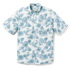 Reyn Spooner Pacific Pareau Archive Classic Classic Fit Weekend Wash Button Front in MARSHMALLOW