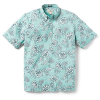 Reyn Spooner Pacific Pareau Archive Classic Classic Fit Weekend Wash Pullover in AQUA SEA