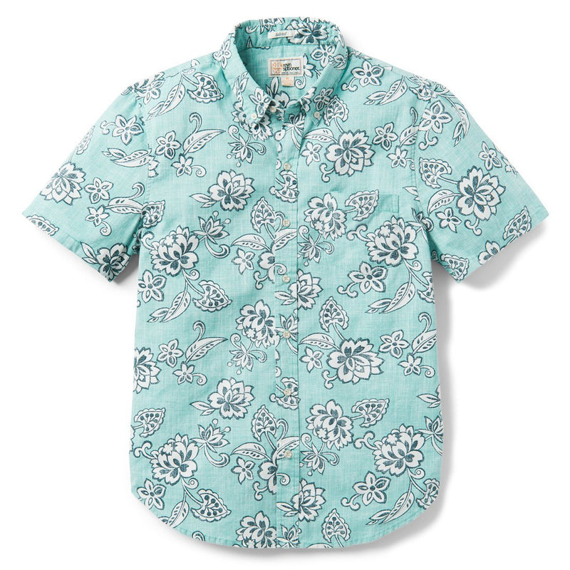 Reyn Spooner Pacific Pareau Archive Classic Tailored Fit 2.0 Weekend Wash in AQUA SEA