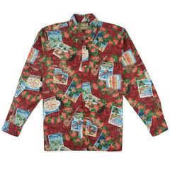 Reyn Spooner Hawaiian Christmas 2017 Classic Fit Long Sleeve Shirt in Cranberry