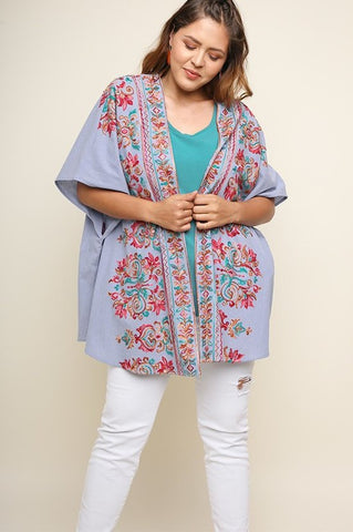 Live In Stitches Kimono - Light Blue