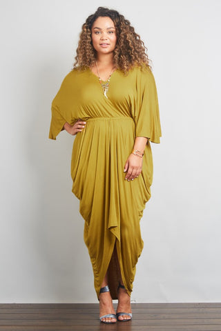 Rule Your Empire Draped Maxi - Burgundy