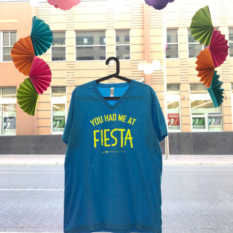 You Had Me At Fiesta - Blue V-Neck Tee