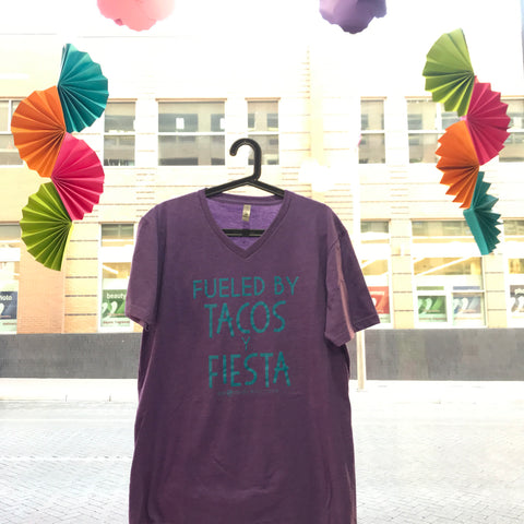 Fueled By Taco Y Fiesta - Purple V-Neck Tee