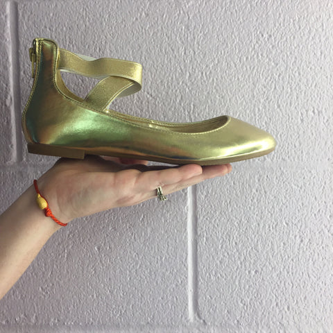 Gold Ankle Ballerina Flats
