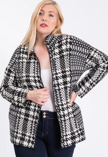 Houndstooth Happy Sweater Jacket