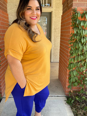 Very Essential V-Neck Top - Mustard