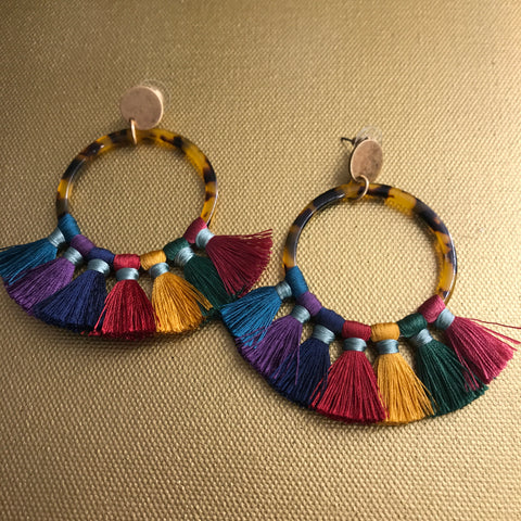 Multi-Colored Tassel Hoops