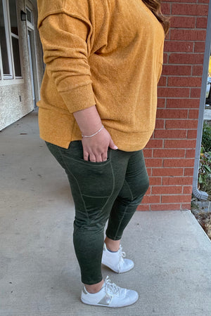 Light as a Heather Yoga Pants - Olive