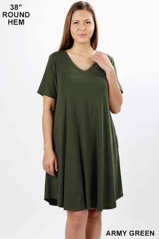 Olive Comfort Dress (w Pockets)